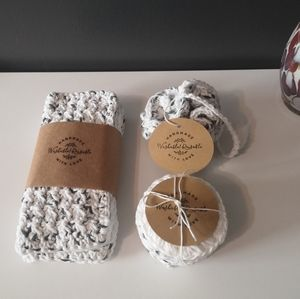 Handmade crocheted 100% cotton bath set